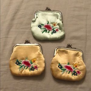 Silk Coin Purses w/ Flower Design/Pink Silk Inside